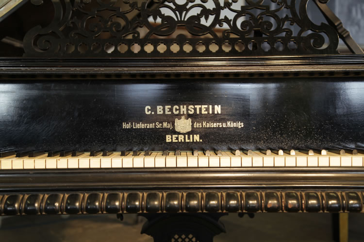Bechstein model C grand piano  brass name on piano fall