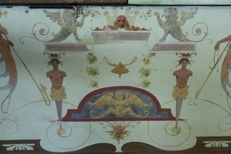 Detail of hand-painted decoration on the Pleyel piano cabinet