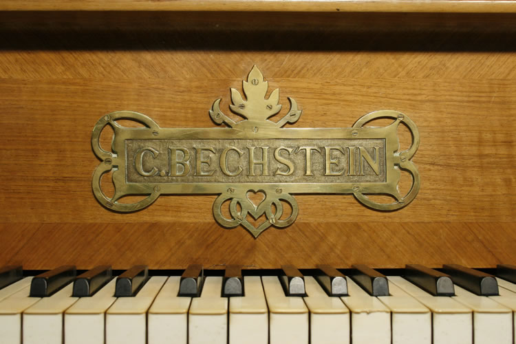 Bechstein model C grand piano ornate brass name plate. Name plate and hinges feature cut-out foliage design