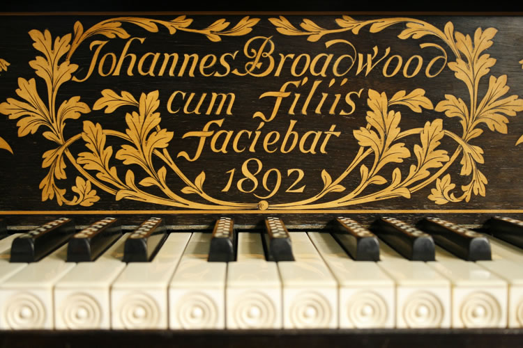 Broadwood name beautifully inlaid on fall with sinuous  leaves