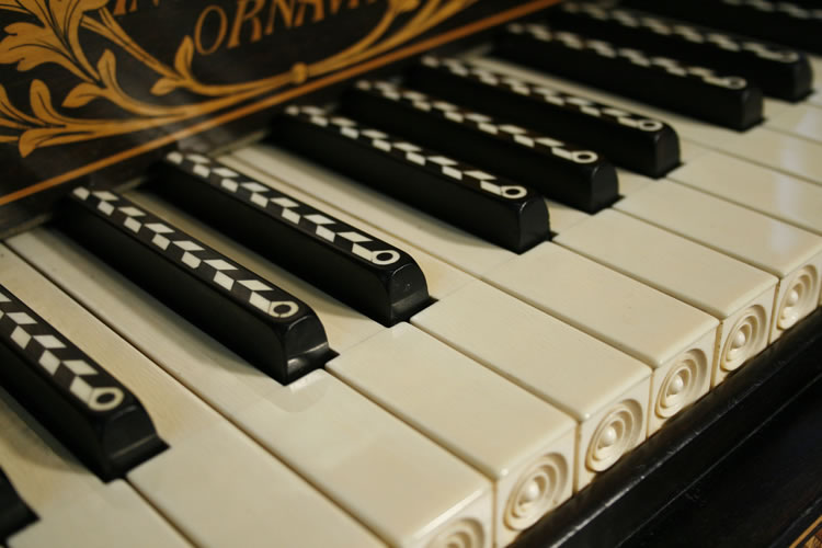 Keyboard with inlaid sharps and turned arcading on the ivories