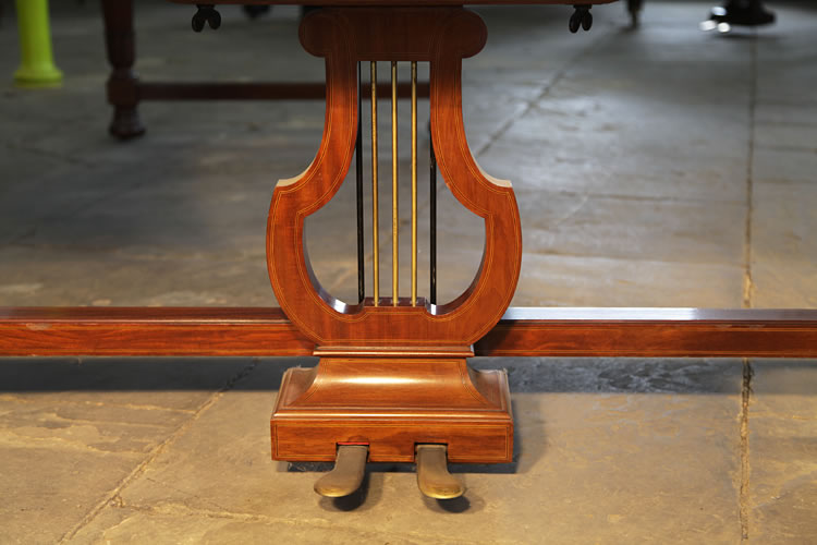 Bechstein model E piano lyre has three brass spindles and is inlaid with satinwood stringing accents