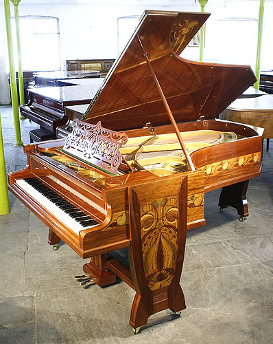 The Golden Age of Pianos. A  1902, Art Nouveau style, Bechstein Model C grand piano for sale with an inlaid mahogany case