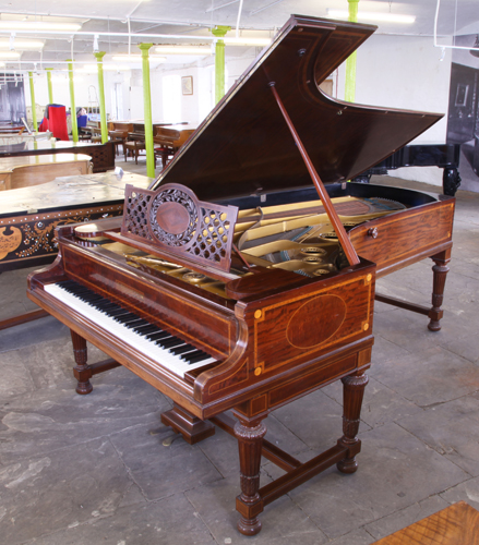 Golden Age of Pianos. A 1907, Bechstein Model E grand piano for sale with a  fiddleback mahogany case with  satinwood and boxwood stringing inlay