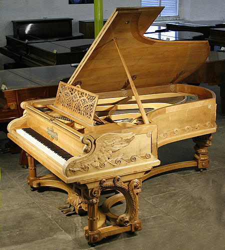 An artcase, 1895, Bechstein Model C grand piano with an ornately carved, walnut case for sale at Besbrode Pianos Leeds
