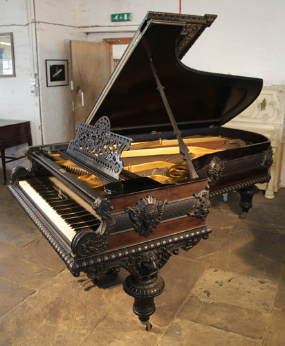 The Golden Age of Pianos. An 1883, Neoclassical style, Bechstein Model C grand piano for sale with a contrasting pear and ebony case