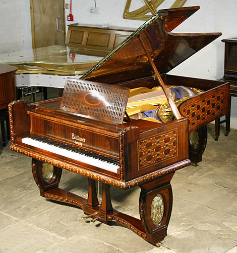 The Golden Age of Pianos. A 1910, Bluthner grand pianofor sale in Jacaranda  with intricate, marquetry inlay all over case in a variety of designs and woods