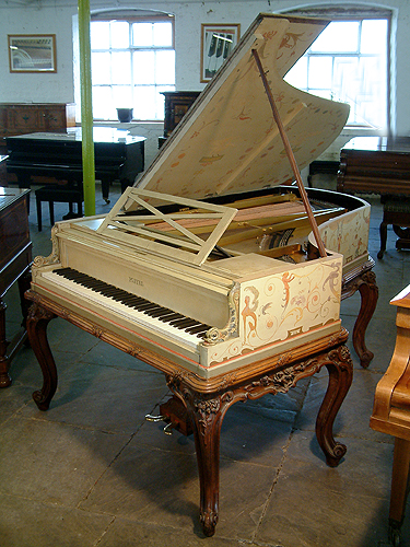 The Golden Age of Pianos. An 1893, Pleyel grand piano for sale beautifully hand-painted with a fairies, satyrs, nudes, monkeys, mythical creatures, birds, flowers and crested composers names. Signed by G. Meunier